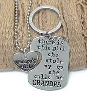 GRANDPA AND GIRL NECKLACE AND KEY CHARM SET - SHE CALLS ME GRANDPA