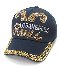 RHINESTONE WORN DENIM CAP - LOS ANGELES RAMS