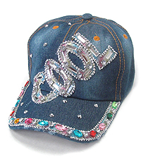 RHINESTONE WORN DENIM CAP - COOL