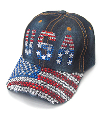 RHINESTONE WORN DENIM CAP - USA