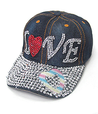 RHINESTONE WORN DENIM CAP - LOVE