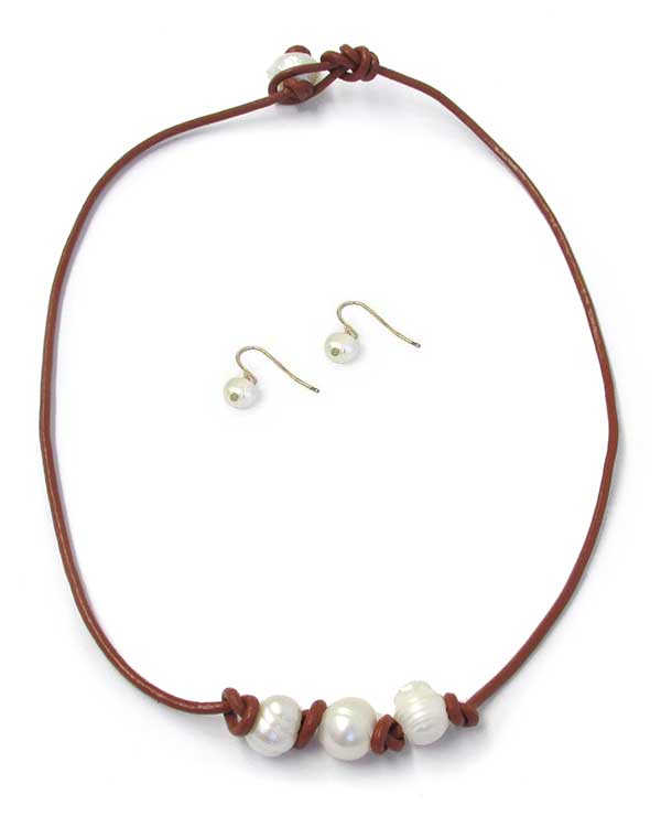 FRESHWATER PEARL CORD NECKLACE SET