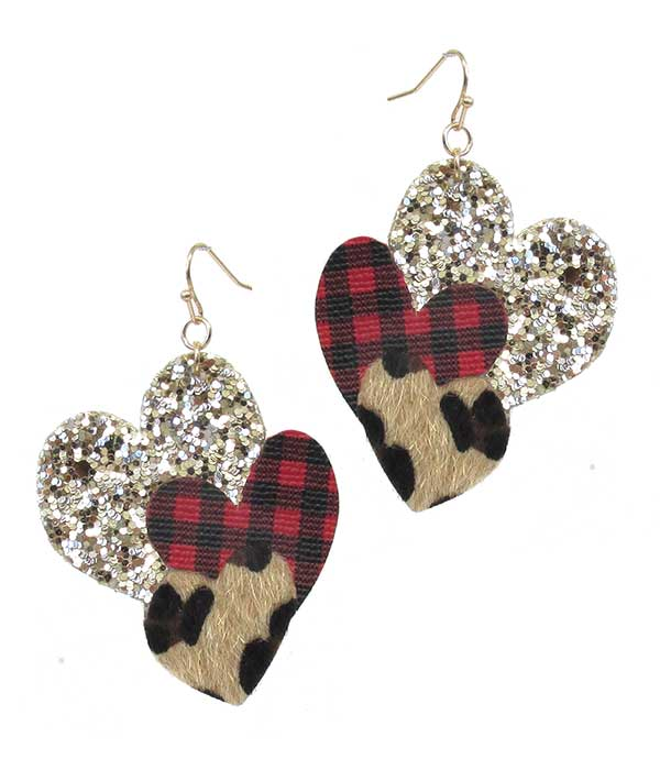 BUFFALO PLAID CHECK PATTERN AND GLITTERING TRIPLE HEART EARRING
