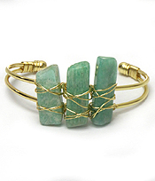 SEMI PRECIOUS STONE WITH WIRE BANGLE BRACELET
