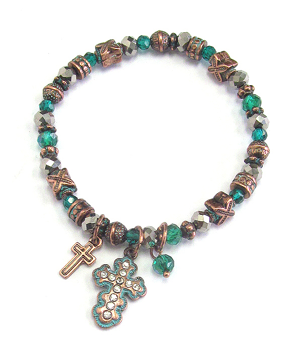 CRYSTAL CROSS CHARM AND MULTI BEAD STRETCH BRACELET