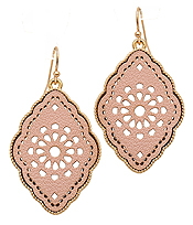 METAL LEATHER FILIGREE EARRING
