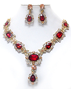 LUXURY AUSTRIAN CRYSTAL DECO OVAL FACET GLASS PARTY NECKLACE EARRING SET