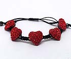 FIVE CRYSTAL PUFFY HEART BRAIDED YARN FRIENDSHIP STRETCH BRACELET