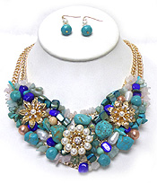 MULTI GENUINE STONE MIX VINTAGE FLORAL NECKLACE SET