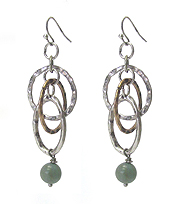 HAMMERED MULTI HOOP MIX DROP EARRING