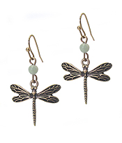 VINTAGE METAL DRAGONFLY EARRING