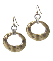 HAMMERED HOOP DROP EARRING