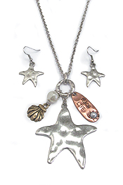 HAMMERED STARFISH PENDANT NECKLACE SET - BEACH GIRL