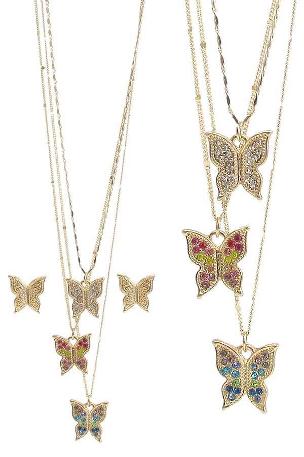 BUTTERFLY PENDANT TRIPLE NECKLACE SET