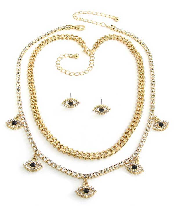 EVIL EYE THEME CHUNKY CHAIN DOUBLE NECKLACE SET