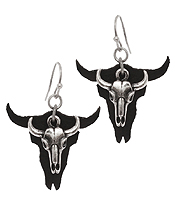 LONG HORN METAL AND LEATHER EARRING