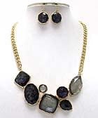 MULTI FASHION SHAPE SHELL STONE METAL CHAIN NECKLACE EARRING SET