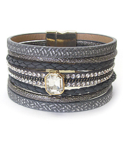 MULTI LEATHER LAYER MAGNETIC BRACELET