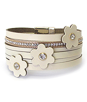 MULTI LEATHER LAYER FLOWER ACCENT MAGNETIC BRACELET