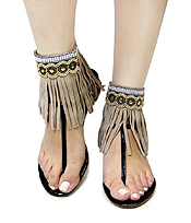 MULTI BEADS AND LEATHERETTE TASSEL ANKLET - ONE PAIR