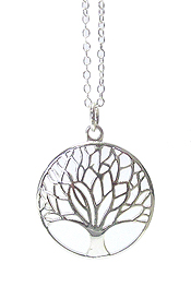 925 STERLING SILVER PLATED TREE OF LIFE PENDANT NECKLACE