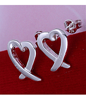 925 STERLING SILVER PLATED HEART EARRING