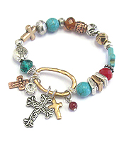 MULTI CROSS CHARM AND BEAD STRETCH BRACELET