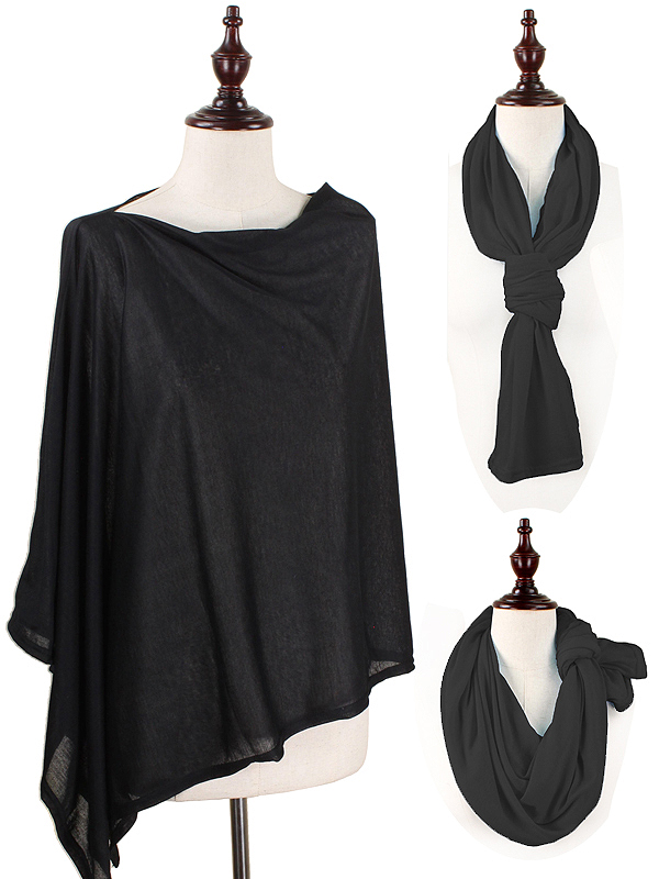 MULTI WAY JERSEY PONCHO - 100% POLYESTER