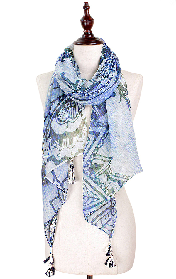 TASSEL ACCENT VINTAGE ELEPHANT PRINT SCARF - 100% POLYESTER