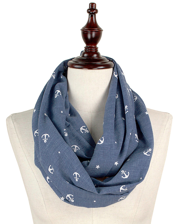 MINI ANCHOR SOFT COTTON INFINITY SCARF - 100% COTTON