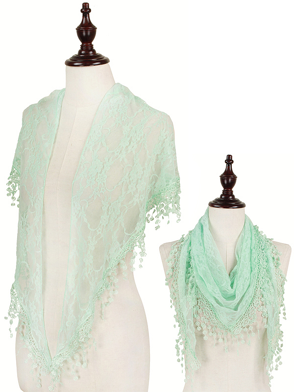 TASSEL DROP TRIANGULAR LACE SCARF - 100% POLYESTER