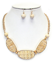 BAMBOO WOVEN PENDANT NECKLACE SET