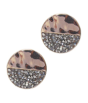CRYSTAL HALF FILLED METAL STUD EARRING - ROUND - ROSEGOLD