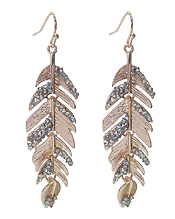 CRYSTAL FEATHER EARRING - ROSEGOLD