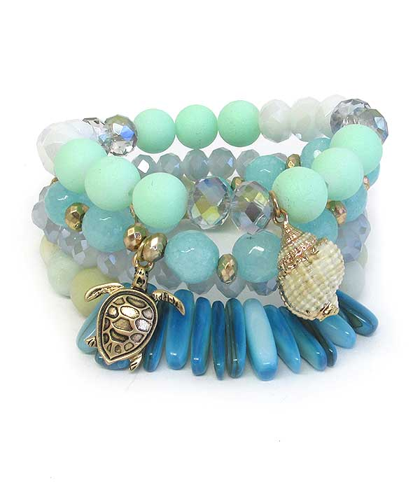 SEALIFE THEME NATURAL SHELL 4 STRETCH BRACELET SET - TURTLE
