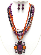 BOUTIQUE STYLE STONE AND BEADS ART DECO MEDALLION MULTI STRAND NECKLACE EARRING SET