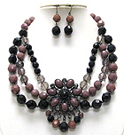 BOUTIQUE STYLE STONE AND BEADS ART DECO TRIPLE BEADS STRAND NECKLACE EARRING SET - Wholesale Jewelry