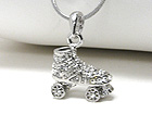 WHITEGOLD PLATING CRYSTAL STUD ROLLER SHOE PENDANT NECKLACE