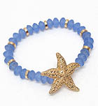 TEXTURED STARFISH AND ICE BEAD STRETCH BRACELET