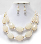 FACET ACRYLIC BEAD LINK DOUBLE CHAIN NECKLACE EARRING SET