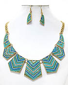 LUXURY LINE MULTI CRYSTAL AND BEAD CHEVRON DECO PLATE LINK BOUTIQUE STYLE NECKLACE EARRING SET