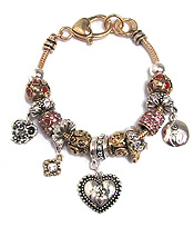 EURO STYLE  MUTLI CRYSTAL RING AND HEART CHARM BRACELET