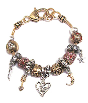 MUTLI CRYSTAL RING AND HEART CHARM BRACELET