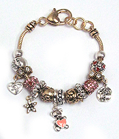 EURO STYLE  MULTI CRYSTAL RING LOVE THEME BRACELET