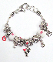 EURO STYLE  MULTI CRYSTAL RING AND TEDDY BEAR CHARM BRACELET
