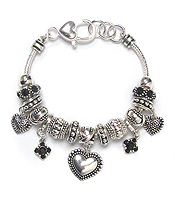 EURO STYLE  HEART AND TEXTURED BALL CHARM BRACELET