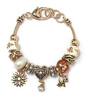MURANO GLASS AND CRYSTAL METAL RING MIX FLOWER THEME EURO STYLE  BRACELET