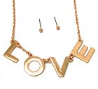 METAL LOVE THEME CHAIN NECKLACE EARRING SET
