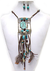 BOHEMIAN STYLE MULTI STONE AND FEATHER DROP NECKLACE SET