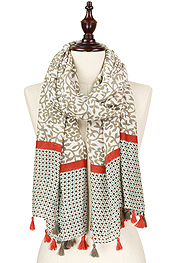 TASSEL DROP FLORAL PATTERN SCARF - 100% POLYESTER